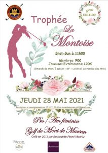 Inscrivez-vous au Trophée La Montoise (Pro Am féminin) le vendredi 28 mai
